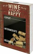 Vintage Style Wine Makes Me Happy Wooden Cork And Bottle Cap Holder 31465 New
