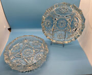 """Vintage 2 Large 8"""" Ashtray Anchor Hocking Clear Glass Prescut Eapc Star Of David"""