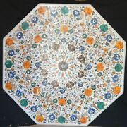 White Marble Dining Table Top Pietra Dura Art Office Table From Cottage Art 42