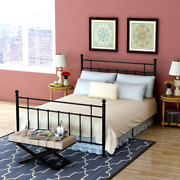 Bed Frame Full Platform With Vintage Headboard And Footboard Made Of Sturdy No
