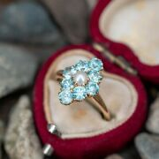 Vintage Ring Natural Swiss Topaz And Pearl Ring Engagement/wedding Ring For Her