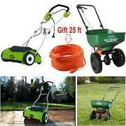 Corded Electric Dethatcher With Robust 10 Amp Motor And Mini Broadcast Spreader