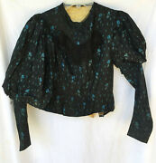 Victorian Sewing Project Foral Silk Puff Sleeve Bodice C 1890