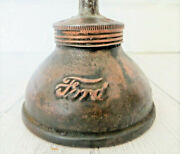 Vintage Embossed Ford Oil Can Oiler Model A Small Script Copper Plated Steel