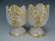 Antique Bohemian Or French Opaline Alabaster Glass Glas Shell Flower Form Vases