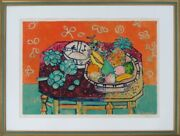 Paul Aizpiri Lithograph Print Art Still Life With Red Wall Hanging Ea Signed