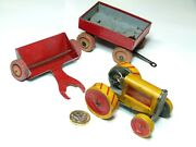 Rare Animate Toys Tin Penny Toy Set Baby Road Builder Tractor And Trailers Usa