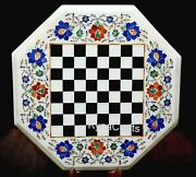 White Marble Coffee Table Top Antique Design Chess Table For Chess Lover 18 Inch