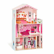 Large Kid's Wooden Dollhouse Dreamy Toy Family Doll House W/furniture Gift Us