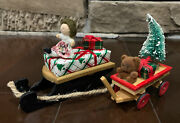 Byer's Choice Wooden Sled And Toyland Express Wagon Christmas Presents Doll Bear