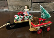 Byer's Choice Christmas Wooden Sled And Toyland Express Wagon Doll Bear