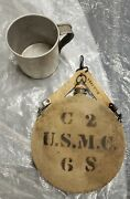 Pre Ww1 P1904 Round U.s.m.c Canteen With U.s.m.c Strap W/ Correct Cup Dated 1906