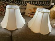 Pair Of Vintage Silk Linen Fabric Table Lamp Shades