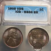 1909 Vdb Lincoln Cent Certified Ms 66br W/ Beautiful Toning - Free Shipping