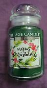 Village Candle Limited Edition Merry Christmas Large Jar Candle Holiday 26 Ozandnbsp