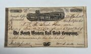 South Western Rail Road Company Stock Certificate. 1868 - 10 Shares