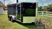 New 2021 7 X 14 7x14 V-nosed Enclosed Cargo Motorcycle Trailer Ramp And Side Door