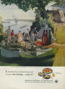 St Louis Barbecue On The Terrace By Douglass Crockwell - Beer Belongs Ad 1951 L