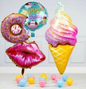 Ice Cream 4pcs Theme Balloon Set With Donut And Kiss For Birthday
