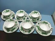 Wedgewood 6 China Chinese Tigers Green Footed Cup And Deep Saucer Euc Williamsburg