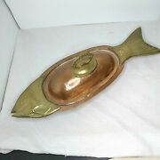 Vintage Hammered Copper And Brass Fish Covered Dish