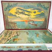 Rare 1908 The Aerial Contest Airplane Game J.w. Spears And Sons Bavaria No Tin Toy