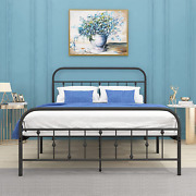 Metal Bed Frame Queen Size With Vintage Headboard And Footboard, Noillats Sturdy
