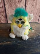 1999 Vtg Electronic Furby Babies Rare Yellow Confetti Tiger Robotic Toy Works ☆
