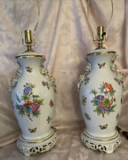 Herend Queen Victoria Green Border Pair Large Lamp W/kissing Dolphins 19.5h