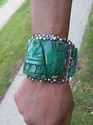 Massive The Best Early Mexican Sterling Silver Bracelet 3 Part Cuff Mask 9oz