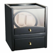 2 Grids Wooden Cases Watch Winder Display Box Automatic Rotation Storage Black