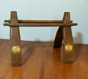 Vintage Egyptian Style Camel Saddle Footstool, Wood With Brass Accents