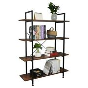 4-tier Industrial Bookcase And Book Shelves Vintage Wood And Metal Bookshelves Us