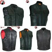 Leather Vest Lot Of 50 Customized Menand039s Motorcycle Gun Pocket Solid Waistcoat