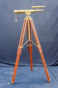 Antique Royal Navy Island Brass 19andrdquo Telescope Spyglass With Tripod By Ross