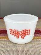 """Mckee Red Gingham Checked Bow Pattern Medium 5.25"""" Round Canister And Lid"""