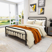 Metal Bed Frame Vintage Sturdy Queen Size With Headboard And Footboard Mattress