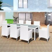 9 Piece Outdoor Dining Set Poly Rattan Cream White 42500us