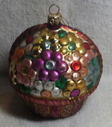 Hand Blown Glass Basket Of Flowers Christmas Ornament - Hand Painted - Glitter