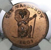 1801 Ngc Ms 64 Pidcockand039s Conder Farthing Middlesex Monkey Pelican 21091603c