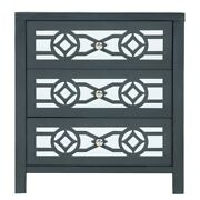 Wooden Storage Cabinet With 3 Drawers And Decorative Mirror Antique Navy