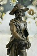 100 Real Bronze Sculpture Signed Original Pirate With Jewelry Chest And Sword