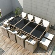 13 Piece Outdoor Dining Set With Cushions Poly Rattan Beige__42558us