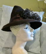 Vintage 1940s Hat Lady's Sculptured Felt And Ostrich Feathers