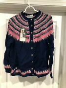 Norsk Handstikkas Genuine Hand Knit Sweater From Norway Pikn And Blue Large Women
