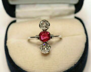 Trilogy Engagement Wedding Vintage Art Deco Ring 1.2 Ct Ruby 925 Sterling Silver
