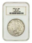 1923-d 1 Ngc Ms63 Oh - Old Ngc Holder - Peace Silver Dollar - Old Ngc Holder