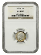 1957-d 10c Ngc Ms67 Ft - Roosevelt Dime - Pretty Toning