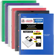 Five Star Spiral Notebook + Free Study App College Ruled Lined Paper 6 Pack 1