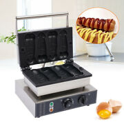 New 4pcs Commercial Nonstick Electric Hot Dog Shaped Waffle Maker Baker Machine